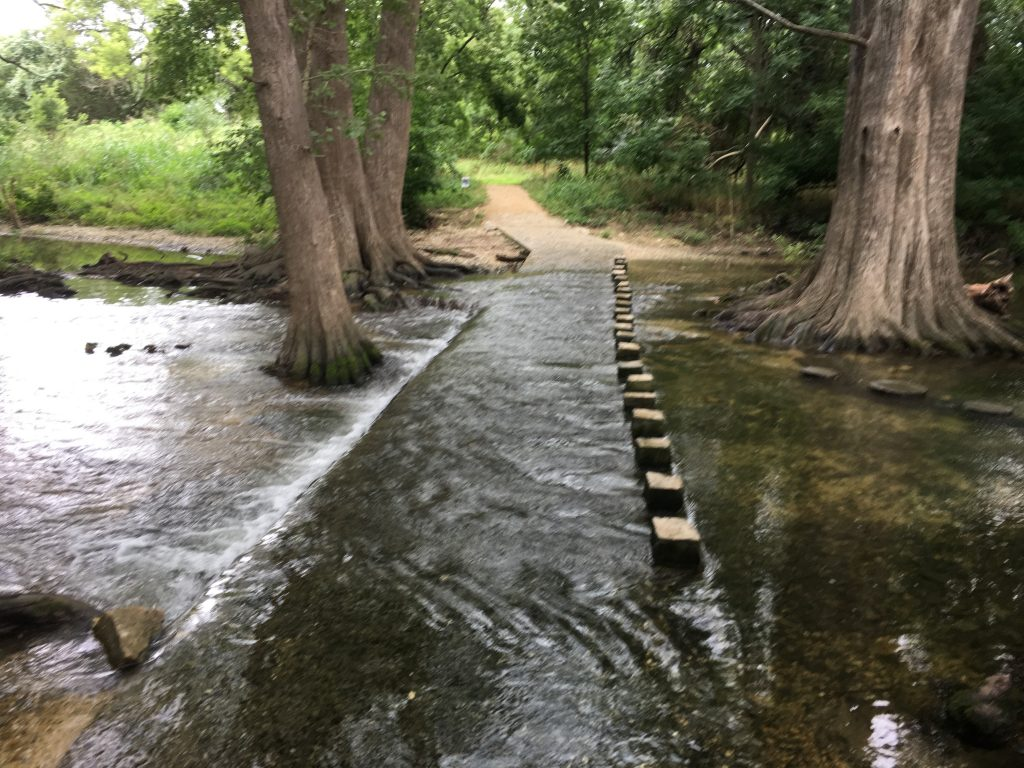 A path for horses to cross Cibolo Creek in Boerne, Texas