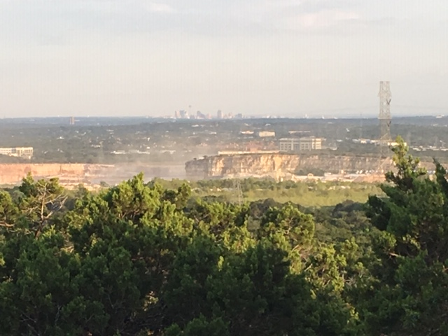A view of downtown in the distance while hiking in San Antonio.