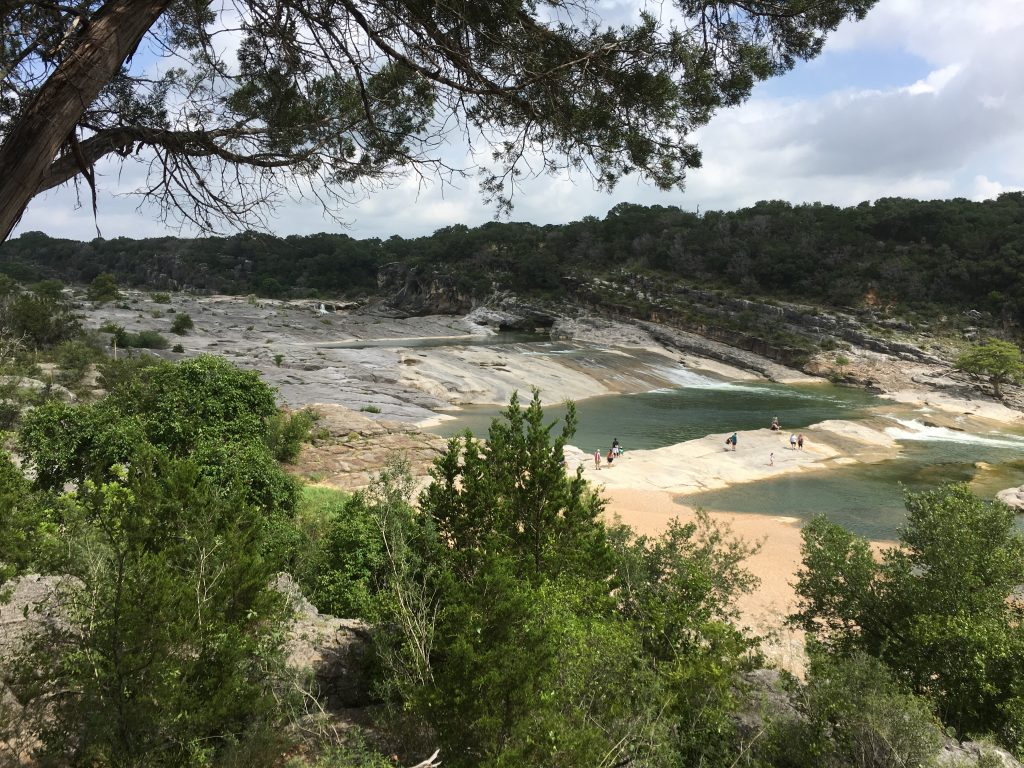 Scenic view at Pedernales Falls State Park in Texas while hiking near San Antonio.