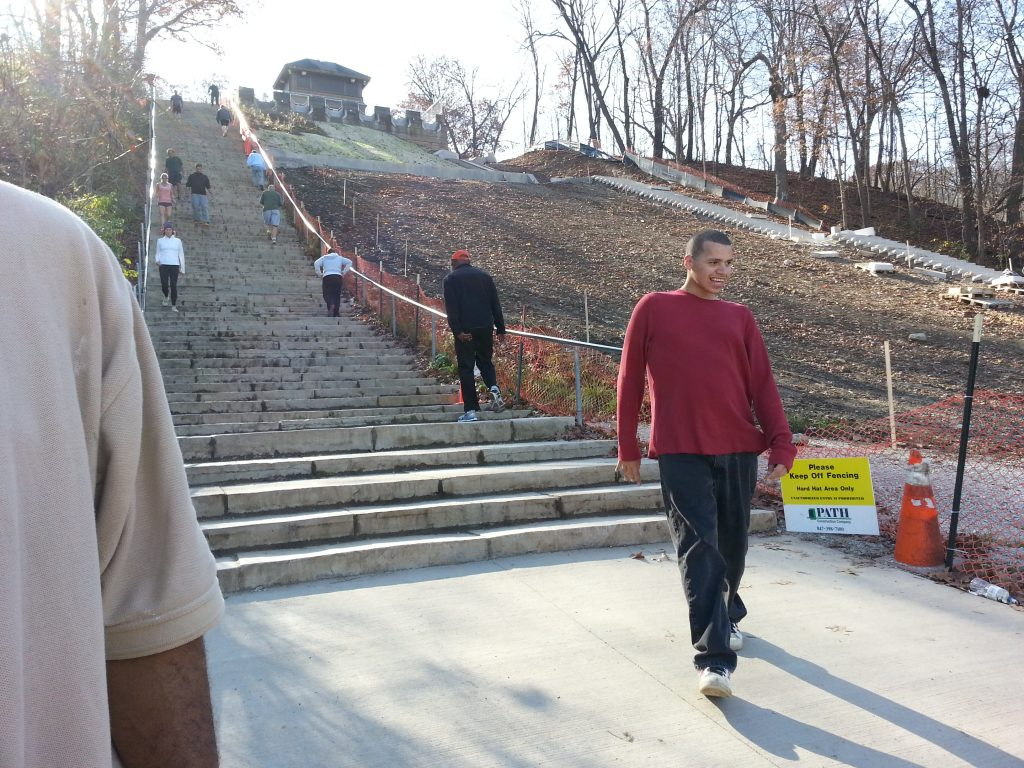 A park up north with many stairs was a great place for exercise on a nice day.