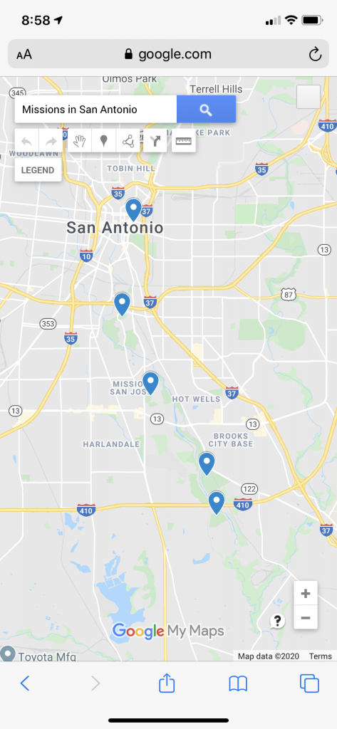 A map of the missions in San Antonio, Texas.