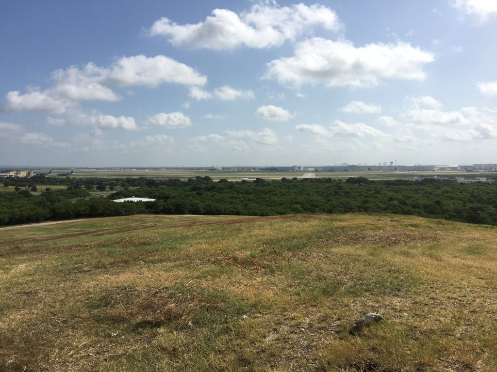 View of downtown San Antonio and Lackland Airforce Base from Pearsall Park.