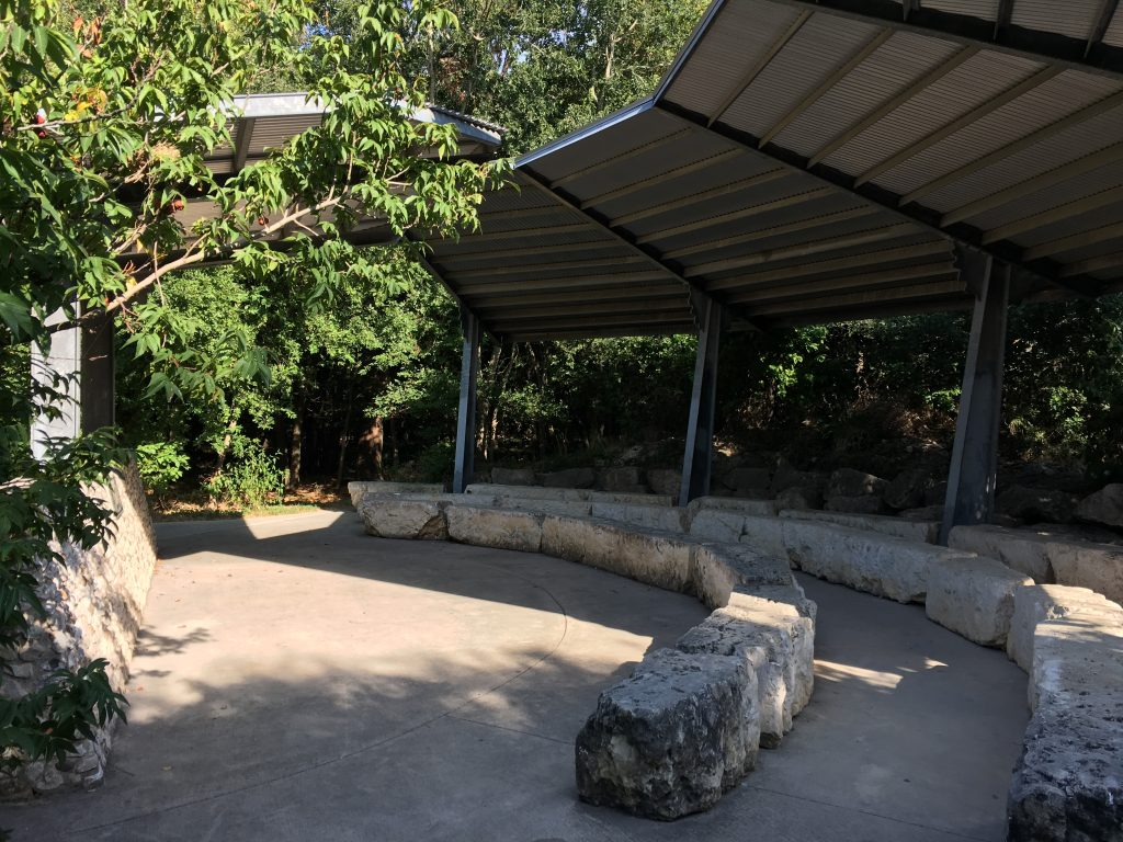 A small outdoor theatre space near the library.