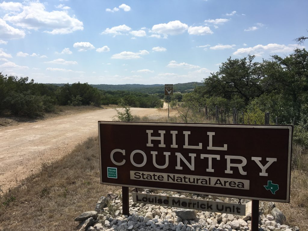 The entrance to Hill Country State Natural Area in Bandera, Texas.
