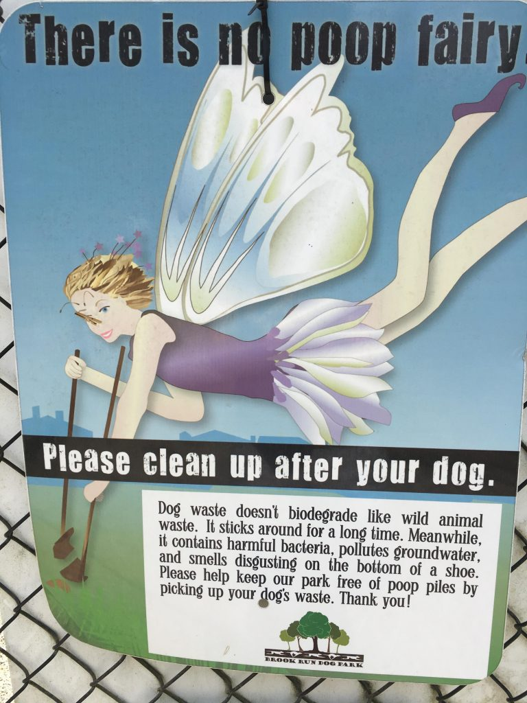 An image of the dog poop fairy at a dog park.