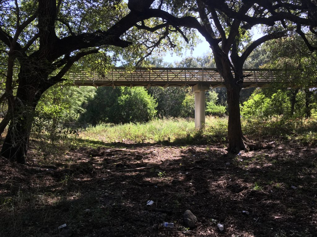 A shot of the long bridge from Salado Creek at Walker Ranch Park.
