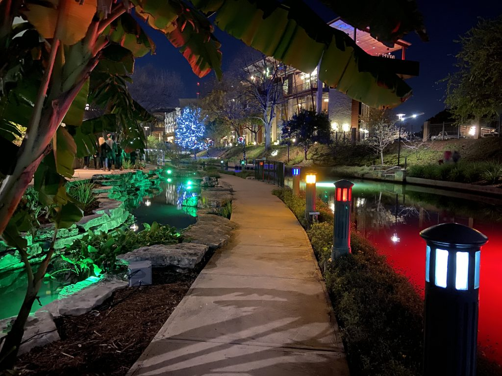 Hiking along the San Antonio Riverwalk during winter provides beautiful illuminations.