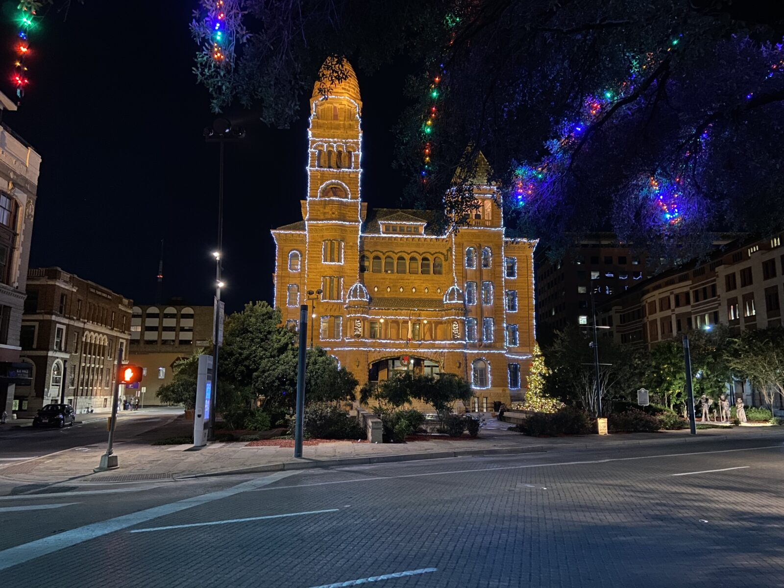 The Bexar County Courthouse is full of light before Christmas in San Antonio.