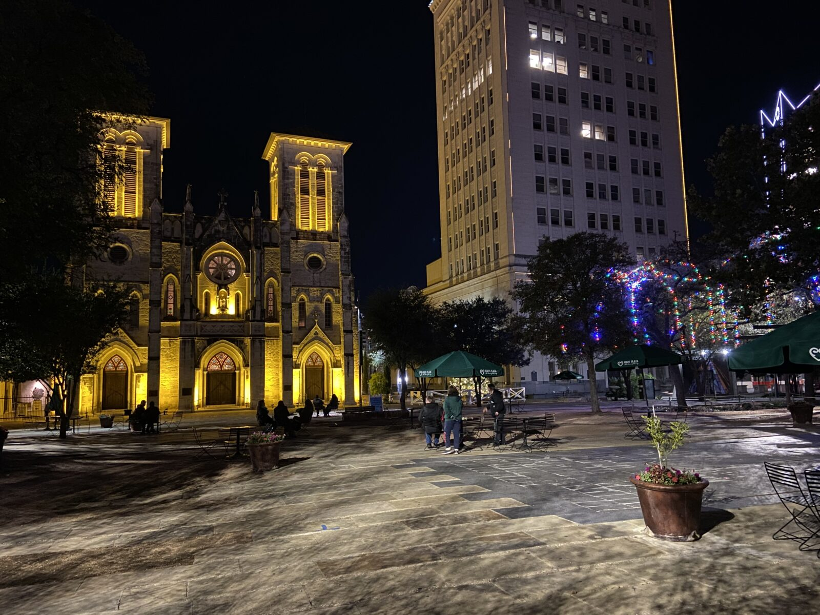 San Fernando Cathedral stick out, but not because of the Christmas lights.