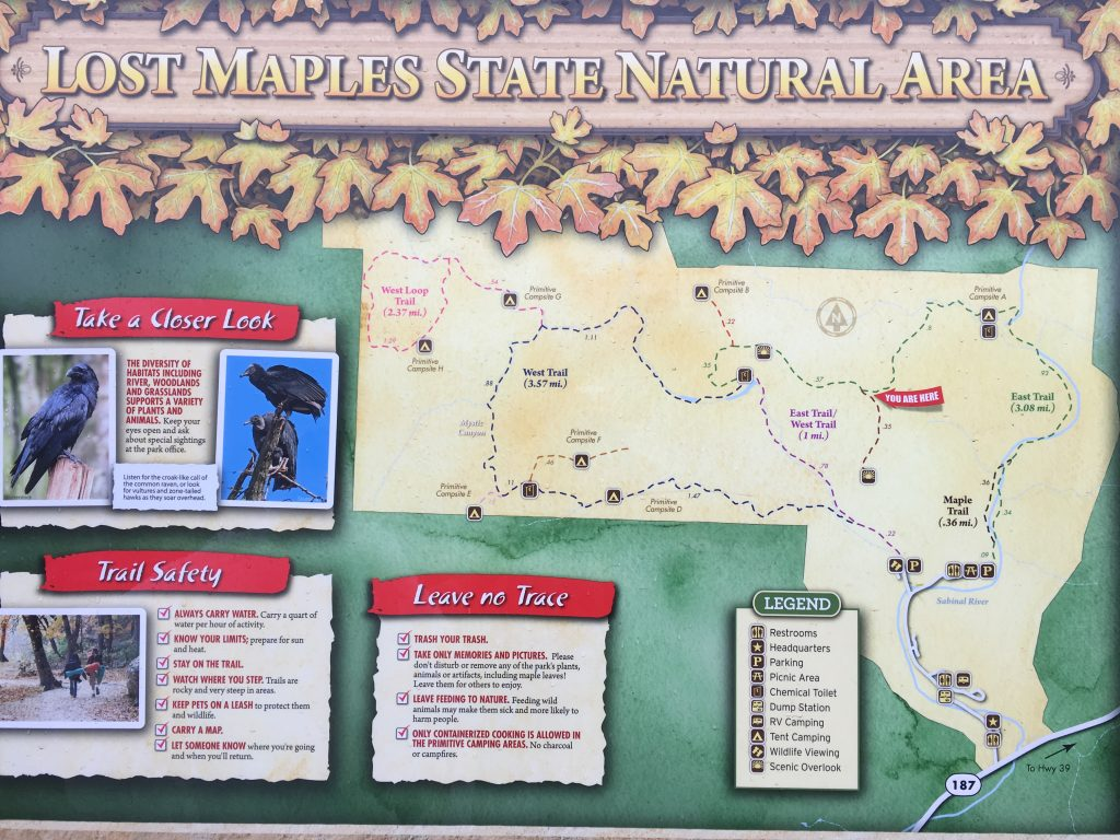 Lost Maples State Park trail map