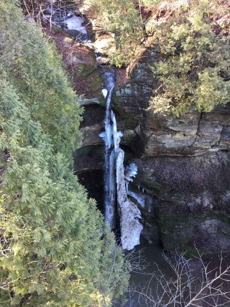 One of the waterfalls at Starved Rock during winter.