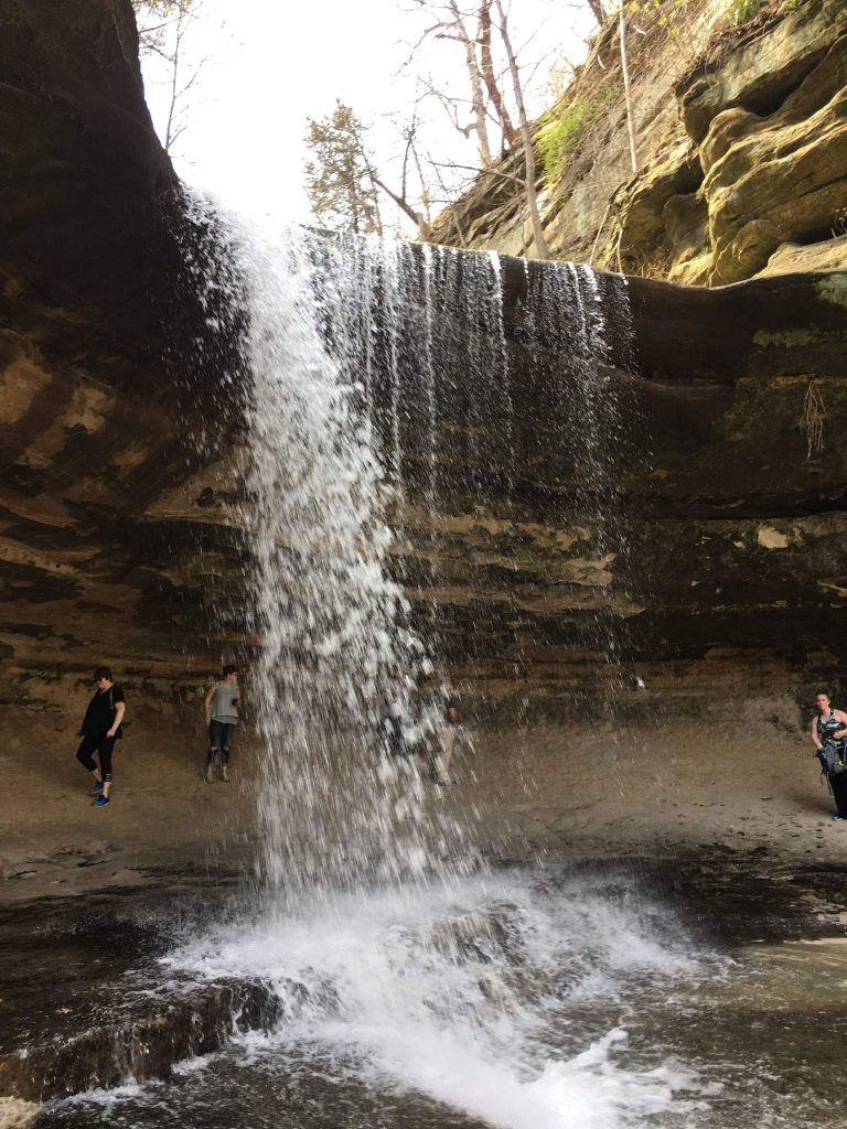 A waterfall you can walk behind at Starved Rock State Park.