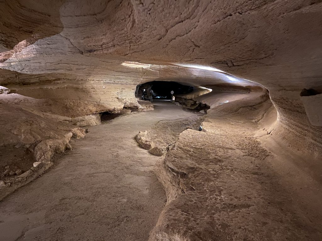 Wide alien-like halls run underneath Texas Hill Country at Longhorn Cavern State park.