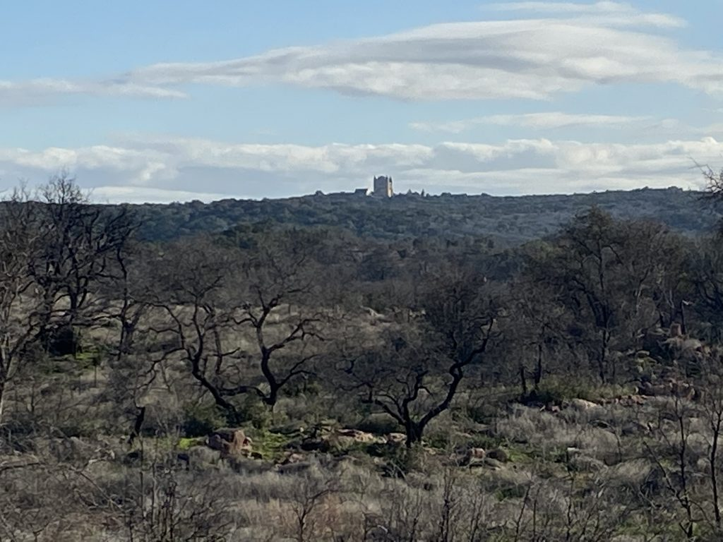 A view of Falkenstein Castle from Pecan Flats at Inks Lake State Park.
