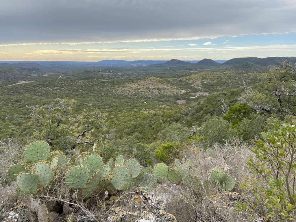 One of the views from Scenic Overlook Trail. Several hills can be seen in the distance.