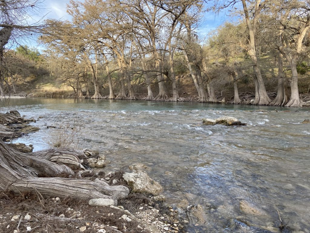The Guadalupe River up close from Little Blue Stem Loop.