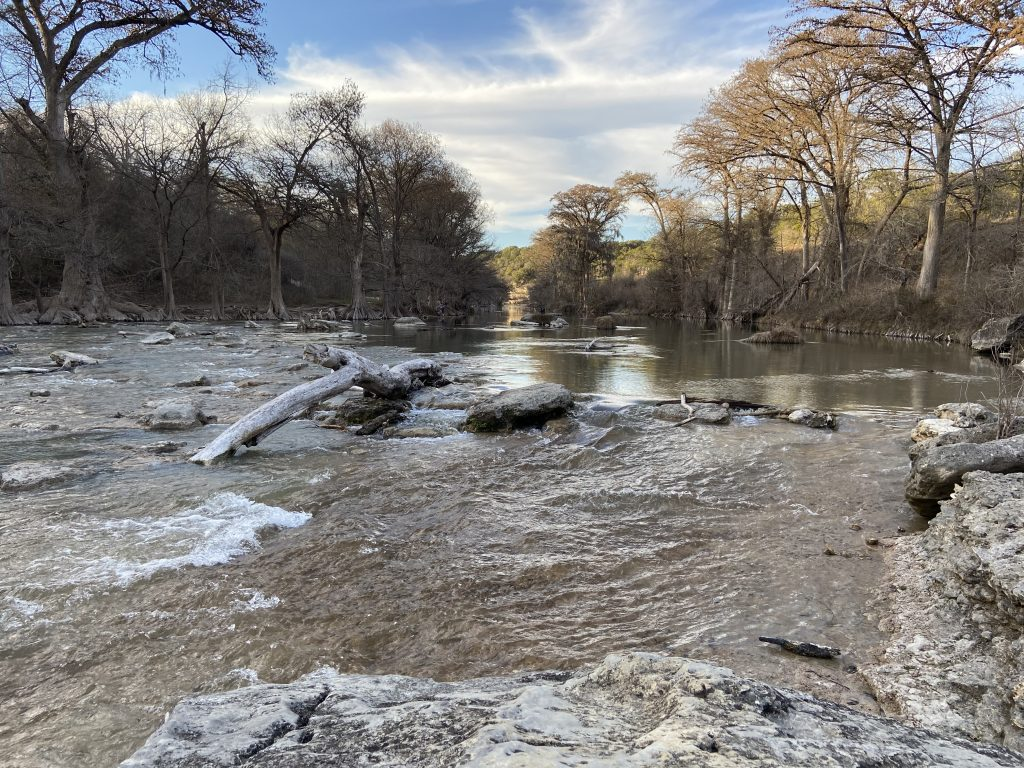 Looking upstream from the river access trail at Guadalupe River State Park.