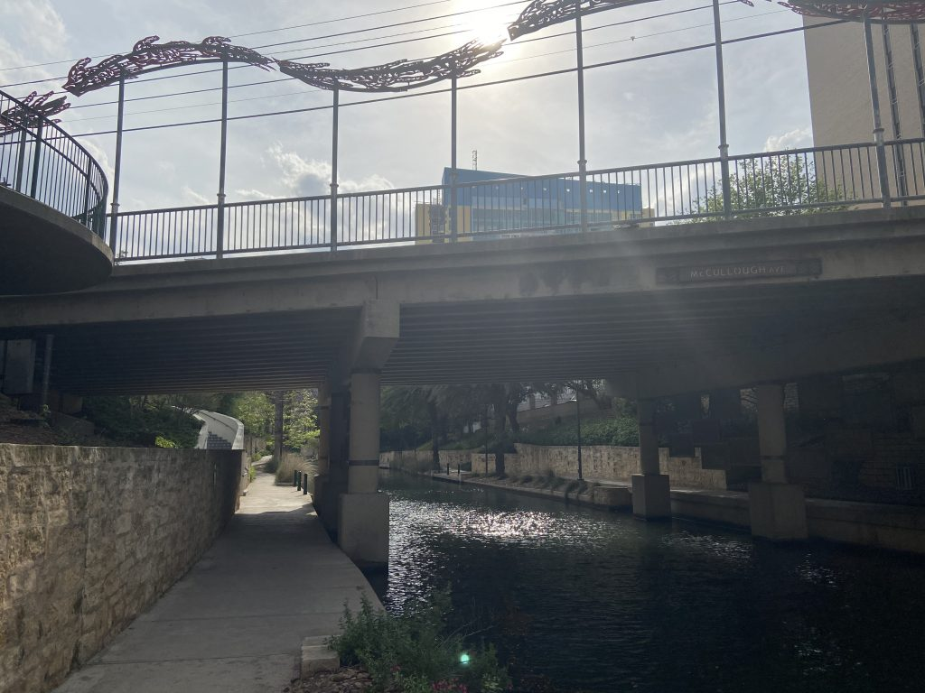 The dog friendly riverwalk leaving downtown.