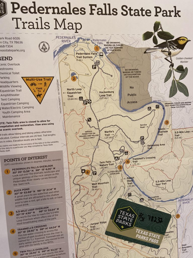 A trail map of Pedernales falls with the Texas State Parks Pass