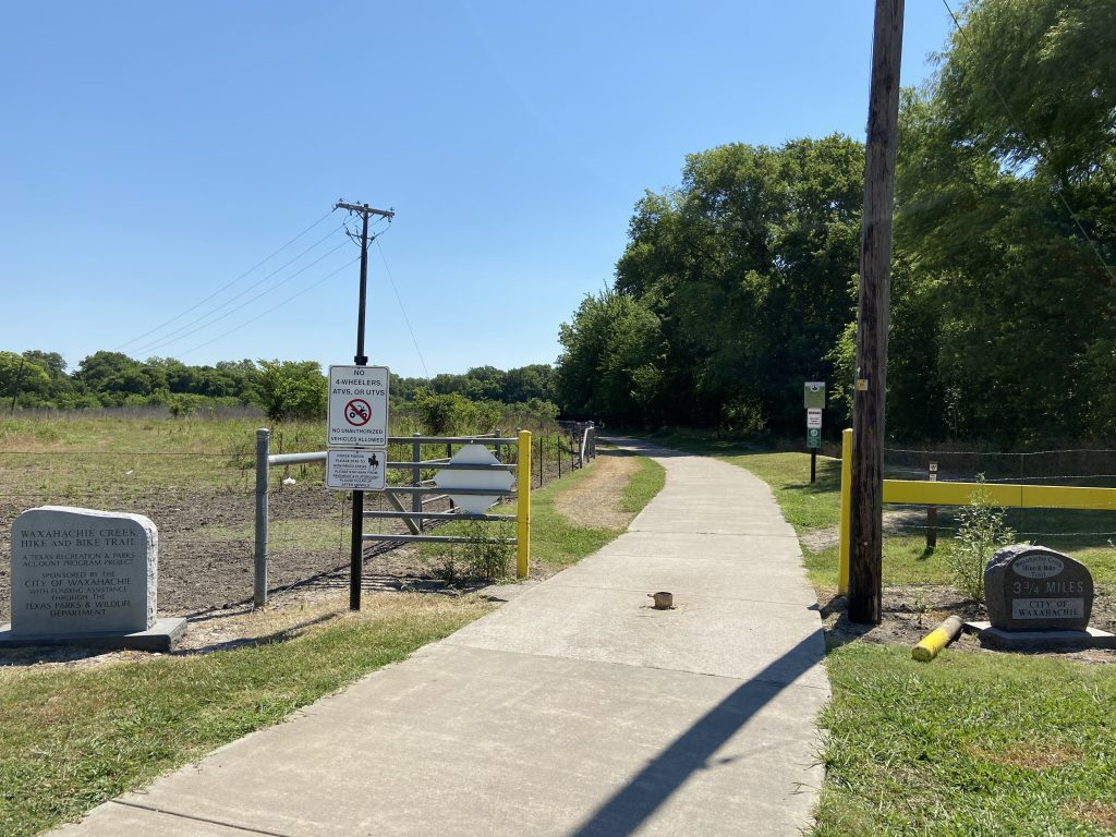 The hike and bike trail from Lions Park in Waxahachie, TX.