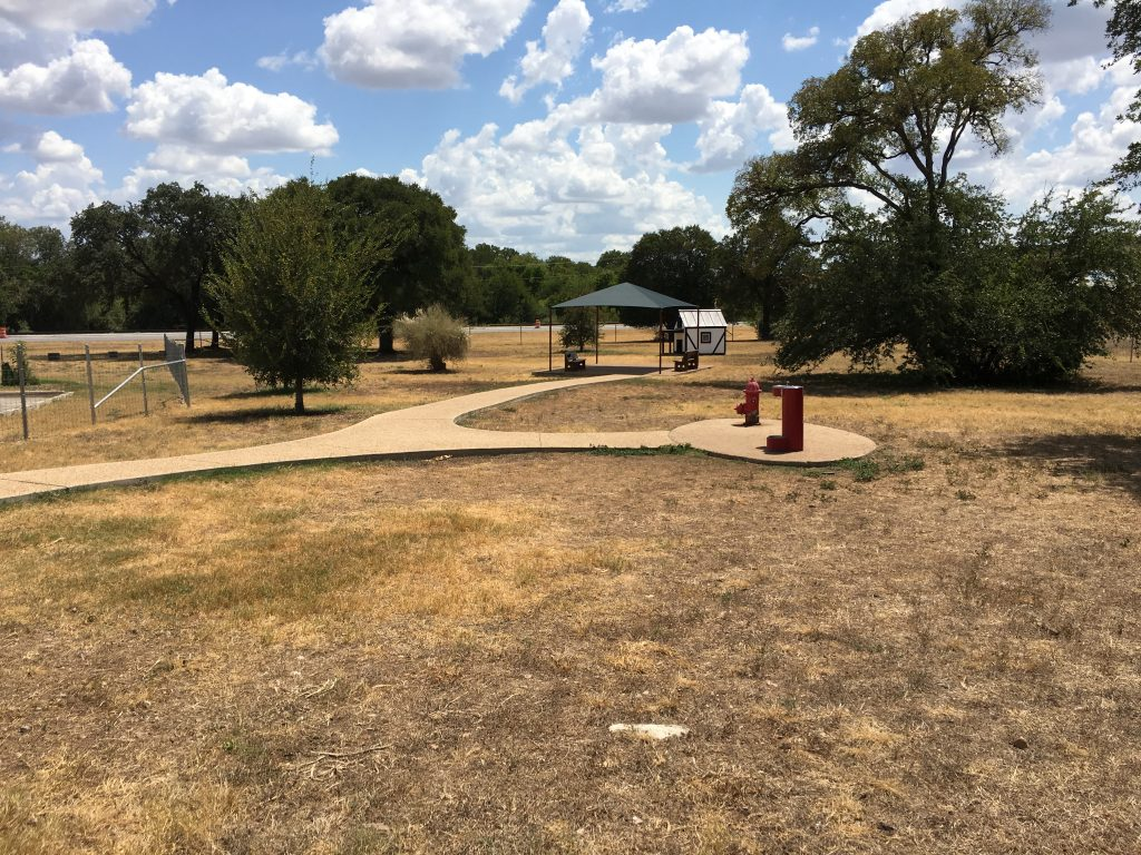 Water features and pavilions at the dog park in New Braunfels.