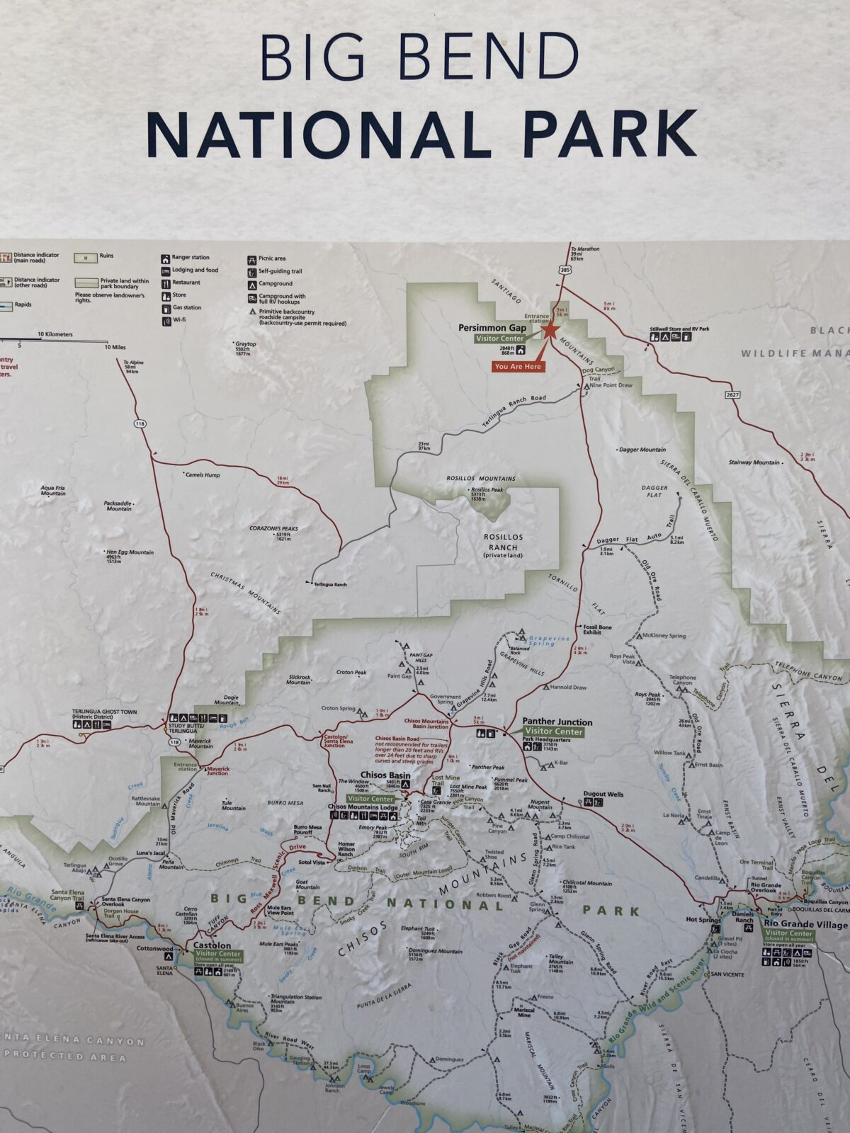 This is the map from the first visitors center at Big Bend National Park.
