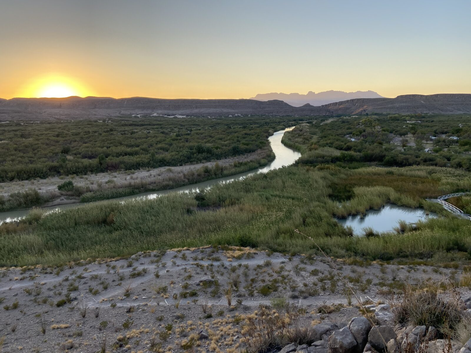 A spectacular sunset from the Rio Grande Overlook Trail in Big Bend National Park.