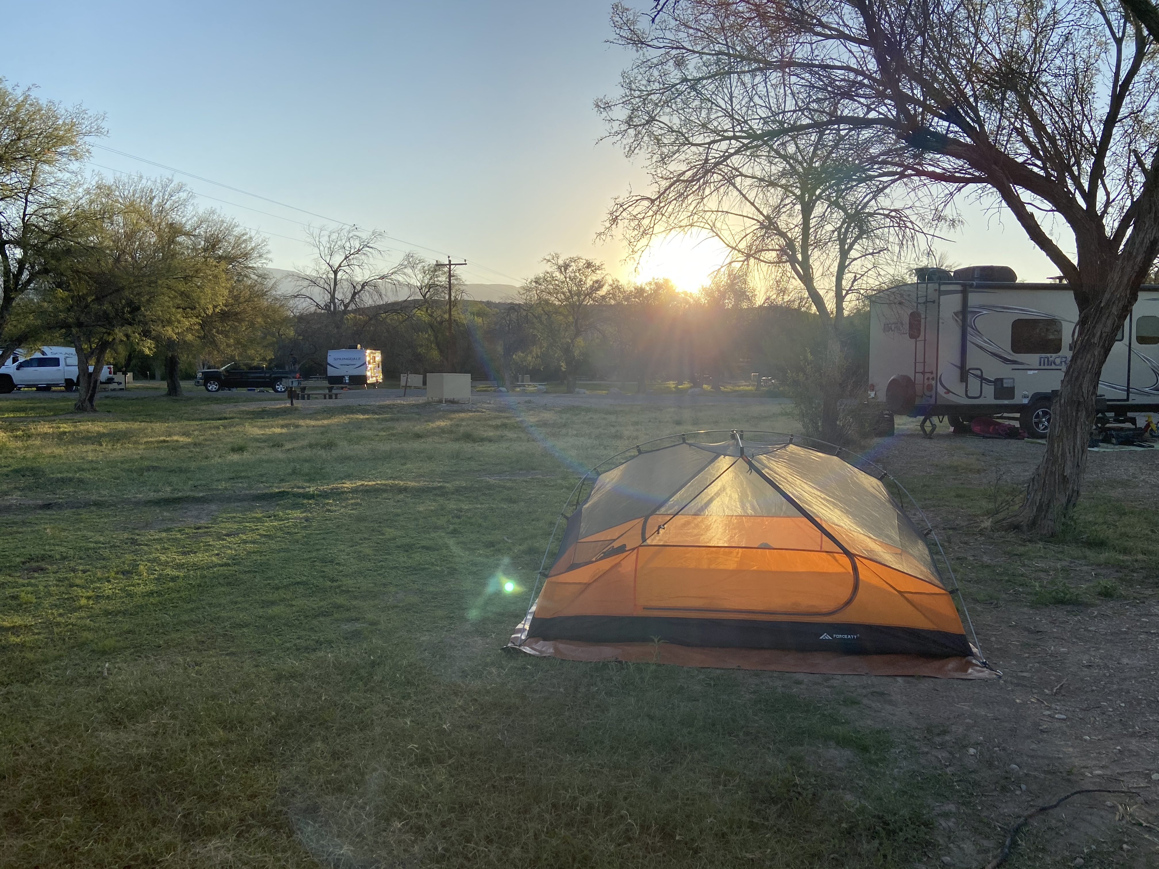The sun rises on our tent at Rio Grande Village in Big Bend National Park.