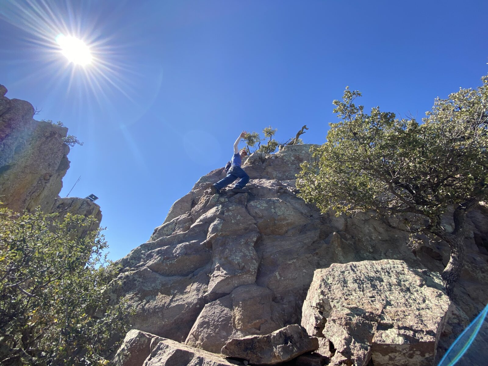 To reach the top of Emory Peak you must be able to climb the rocky pinnacle at Big Bend National Park.